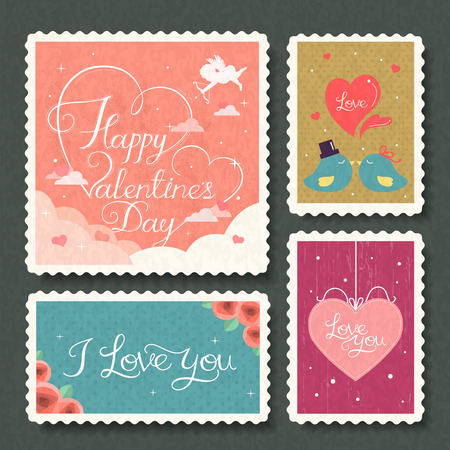 interesting Valentines day calligraphy stamps collection set