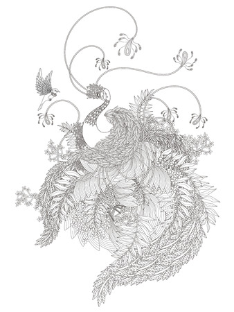 Abstract design: elegant swan coloring page with plants elements