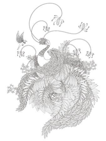 zeichnen: elegante Schwan Malvorlagen mit Pflanzen-Elemente