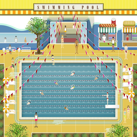 stage coach: lovely swimming pool scenario design in flat style Illustration