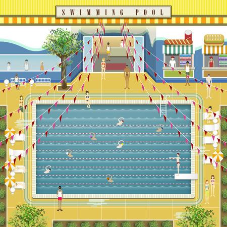mooi zwembad Scena ontwerp in vlakke stijl