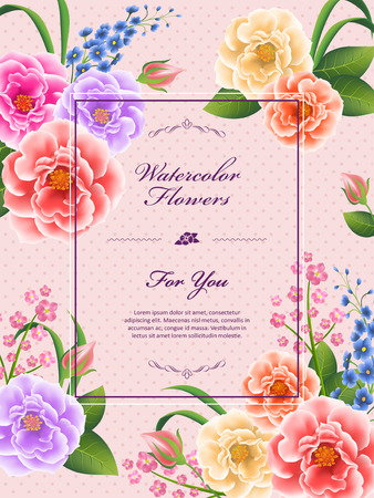 attractive peony poster template design in watercolor style