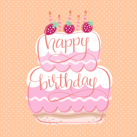 Adorable Happy Birthday Card Design With Delicious Cake Royalty Free
