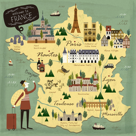 french: France travel concept illustration map with attractions