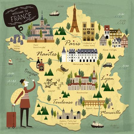frances: Francia el concepto de viaje ilustración mapa con las atracciones Vectores
