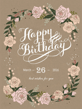 romantic Happy birthday calligraphy and poster design with floral elements Illustration