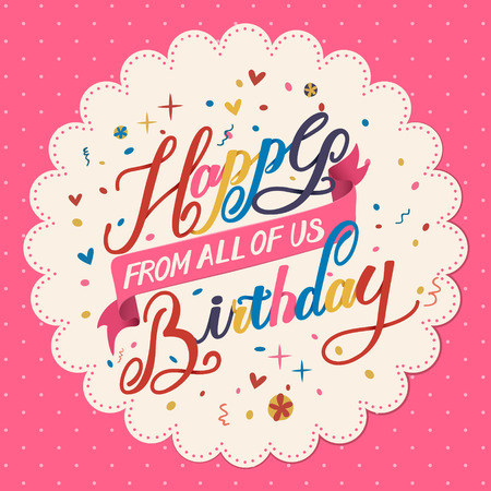 lovely Happy birthday calligraphy poster design over pink background