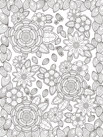 color pages: lovely floral coloring page in exquisite line Illustration
