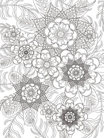 dibujos para colorear: para colorear de flores retro y elegante en línea exquisita