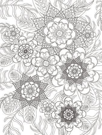 coloring pages: retro and elegant floral coloring page in exquisite line
