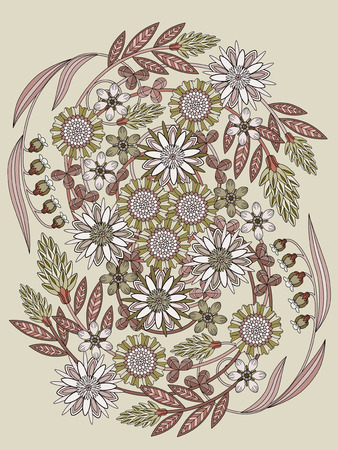 exquisite: beautiful floral coloring page in exquisite line Illustration