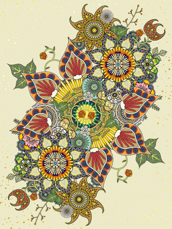 exquisite: colorful floral coloring page in exquisite line