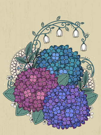 illustration abstract: graceful hydrangea coloring page in exquisite line