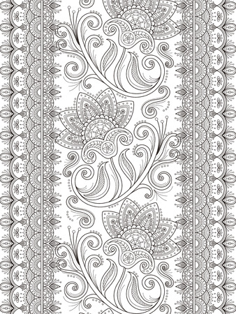 exquisite: graceful flower coloring page design in exquisite line Illustration