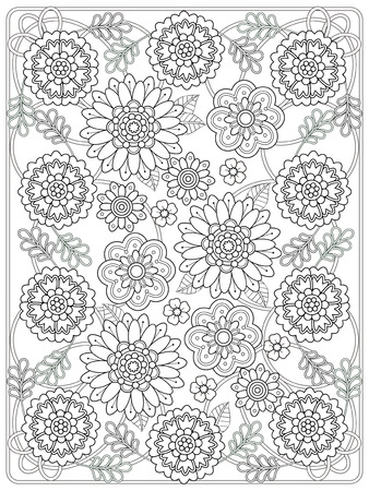 exquisite: lovely floral coloring page in exquisite line Illustration