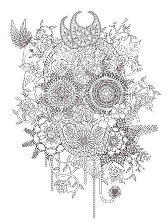 monochrome: attractive floral coloring page with skull symbol