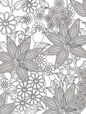 tropical plants: attractive tropical floral coloring page in exquisite line