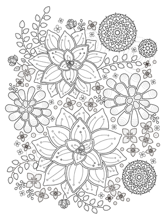 succulent: lovely top view succulent plant coloring page Illustration