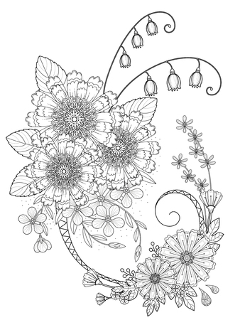 chrysanthemum adult romantic floral coloring page in exquisite line - Chrysanthemum Book Coloring Pages