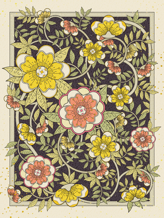 color pages: retro and elegant floral coloring page in exquisite line