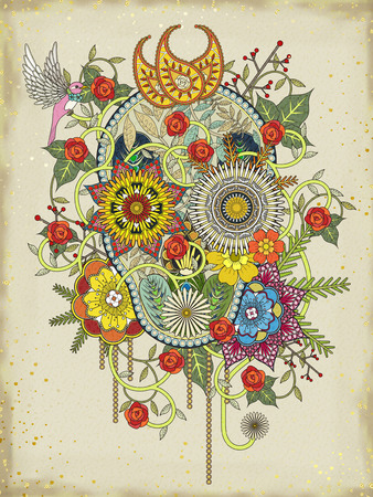 color pages: attractive floral coloring page with skull symbol