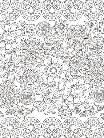 hermosa página para colorear de flores en línea exquisita Ilustración de vector