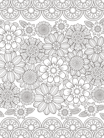 lovely floral coloring page in exquisite line Ilustracja