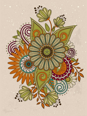 color pages: retro floral coloring page in exquisite line