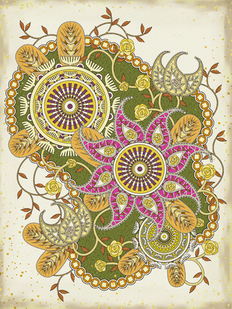 yellowish: elegant floral coloring page in exquisite line