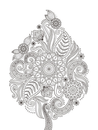 graceful flower coloring page design in exquisite line Vectores
