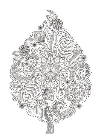 sierlijke bloemen kleurplaat ontwerp in prachtige lijn Stock Illustratie