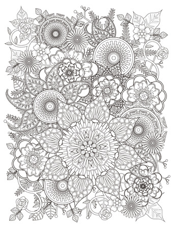exquisite: elegant floral coloring page in exquisite line