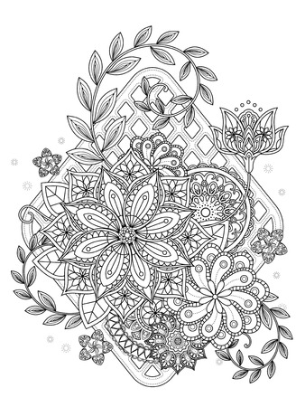 attractive floral coloring page in exquisite line