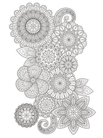 elegant flower coloring page design in exquisite line