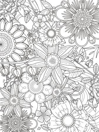 절묘한 라인에 매력적인 꽃 색칠 페이지 디자인
