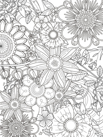 attractive floral coloring page design in exquisite line