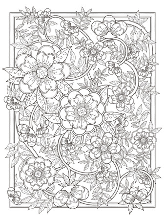 relaxation: retro and elegant floral coloring page in exquisite line