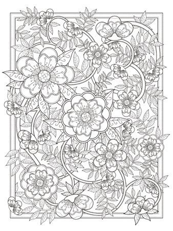 exquisite: retro and elegant floral coloring page in exquisite line