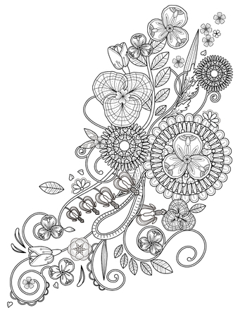 romantic floral coloring page design in exquisite line