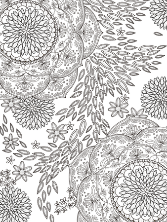 authentic: romantic and elegant floral coloring page in exquisite line