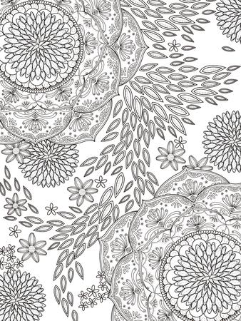 exquisite: romantic and elegant floral coloring page in exquisite line