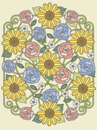 exquisite: lovely floral design coloring page in exquisite line