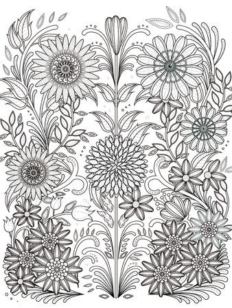 monochrome: retro floral coloring page in exquisite line