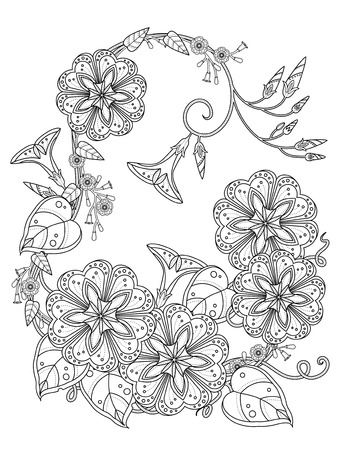 elegant morning glory coloring page in exquisite line Illustration