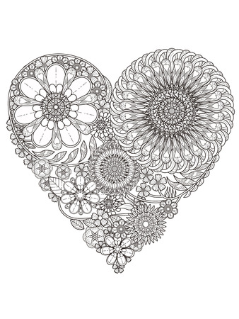 creative floral coloring page in heart shape Vectores