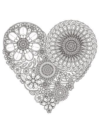 dibujos para colorear: creativa para colorear de flores en forma de corazón