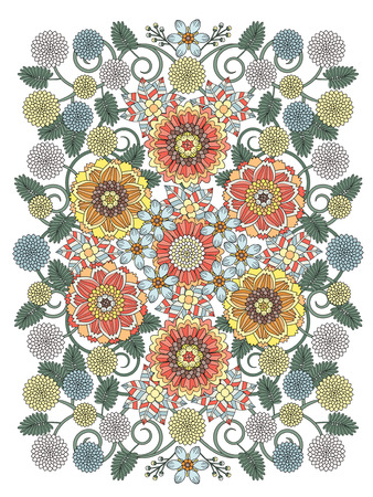 complex: beautiful floral coloring page in exquisite line Illustration