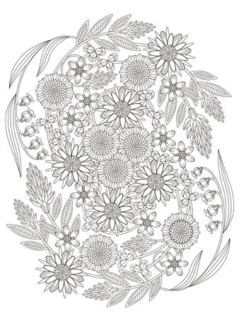 絶妙なラインで美しい花着色ページ