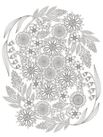 beautiful floral coloring page in exquisite line Illusztráció