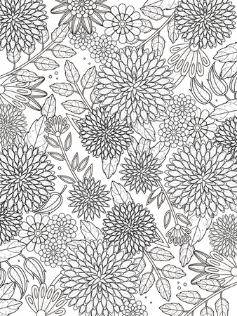 lovely hydrangea coloring page in exquisite line Illustration